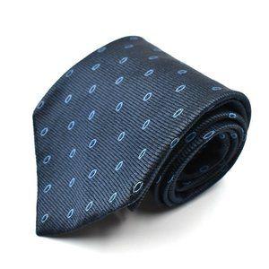 Ike Behar Men's Silk Necktie Blue Navy Dots Woven